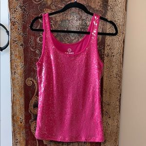 """OLD NAVY"" Pink Sequined Tank Top-Sz-M"